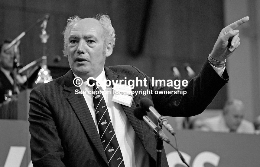 Jimmy Knapp, general secretary, National Union of Railwaymen, NUR, trade union, UK, addresses Trades Union Congress annual conference 1984. 19840103JK3.<br /> <br /> Copyright Image from Victor Patterson, 54 Dorchester Park, Belfast, UK, BT9 6RJ<br /> <br /> t1: +44 28 9066 1296<br /> t2: +44 28 9002 2446<br /> m: +44 7802 353836<br /> <br /> e1: victorpatterson@me.com<br /> e2: victorpatterson@gmail.com<br /> <br /> www.victorpatterson.com<br /> <br /> IMPORTANT: Please see my Terms and Conditions of Use at www.victorpatterson.com