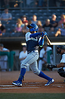 Seuly Matias (25) of the Lexington Legends follows through on his swing against the West Virginia Power at Appalachian Power Park on June 7, 2018 in Charleston, West Virginia. The Power defeated the Legends 5-1. (Brian Westerholt/Four Seam Images)