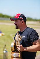 Apr 23, 2017; Baytown, TX, USA; NHRA top alcohol dragster driver Joey Severance celebrates after winning the Springnationals at Royal Purple Raceway. Mandatory Credit: Mark J. Rebilas-USA TODAY Sports