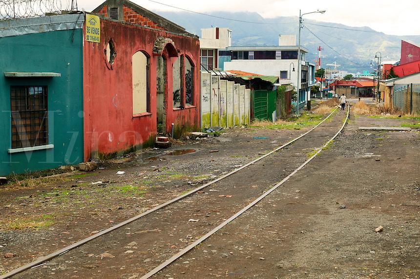 Train tracks through San Jose, Costa Rica