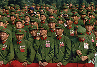 1st October, 1984. Beijing, China. This huge parade is for the celebration of the 35th Anniversary of the Chinese Revolution. Veterans of Liberation Army were watching.