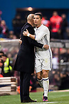 Cristiano Ronaldo of Real Madrid embraces coach Zinedine Zidane during their La Liga match between Atletico de Madrid and Real Madrid at the Vicente Calderón Stadium on 19 November 2016 in Madrid, Spain. Photo by Diego Gonzalez Souto / Power Sport Images