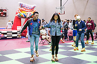 Charles Brockman, a freshman communication major from Plano, Texas, skates with Jaylah Bailey, a freshman kinesiology major from Warner Robbins, Georgia, during the Dawgs After Dark '90s Night event at Mississippi State's Sanderson Center. In addition to skating, students enjoyed bumper cars and slap bracelets. Click here for a schedule of upcoming Dawgs After Dark events at MSU.<br />