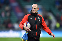 England Rugby assistant coach Steve Borthwick looks on during the pre-match warm-up. Natwest 6 Nations match between England and Wales on February 10, 2018 at Twickenham Stadium in London, England. Photo by: Patrick Khachfe / Onside Images