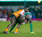 4th November 2017, Galway Sportsground, Galway, Ireland; Guinness Pro14 rugby, Connacht versus Cheetahs; Niyi Adeolokunr (Connacht) challenges Luther Obi (Toyota Cheetahs)