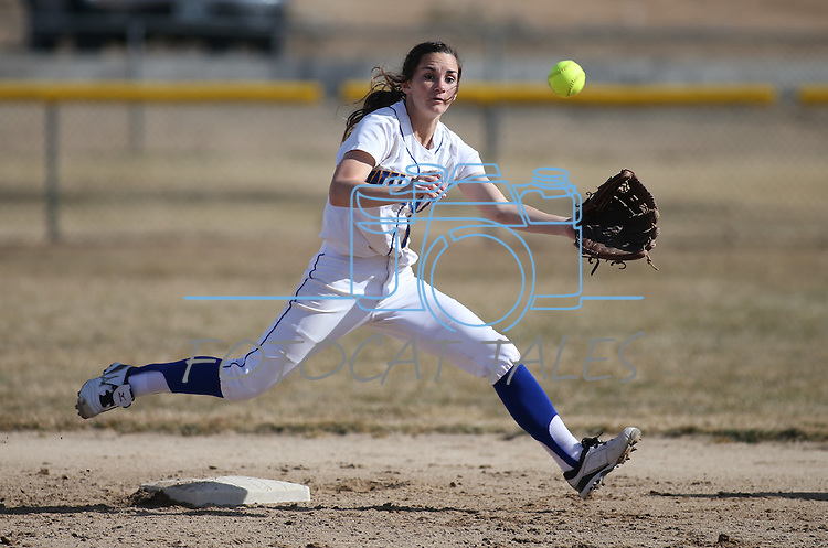 Western Nevada's shortstop Jennifer Rechel tracks down a pickoff throw during a college softball game against Colorado Northwestern Community College in Carson City, Nev., on Friday, Feb. 22, 2013..Photo by Cathleen Allison/Nevada Photo Source
