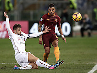 Calcio, Serie A: Roma vs Cagliari, Roma, stadio Olimpico, 22 gennaio 2017.<br /> Cagliari's Daniele Dessena, left, in action with Roma's Emerson Palmieri, right, during the Italian Serie A football match between Roma and Cagliari at Rome's Olympic stadium, 22 January 2017. <br /> UPDATE IMAGES PRESS/Isabella Bonotto