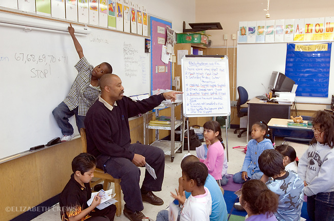 Oakland CA 2nd grade teacher conducting calm lesson while out-of-control student acts out behind his back, imitating teacher's gesture  MR