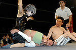"May 17, 2008, Tokyo, Japan - Wrestlers (left to right) ""Orochi"" ""L'amant"" and ""E.T"". All three suffer from cerebral palsy. Only attacks to their afflicted areas are disallowed.  (Photo by Tony McNicol/AFLO)"