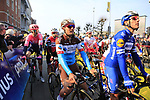 Philippe Gilbert (BEL) Deceuninck-Quick Step and Silvan Dillier (SUI) AG2R La Mondiale line up before the start of the 2019 Ronde Van Vlaanderen 270km from Antwerp to Oudenaarde, Belgium. 7th April 2019.<br /> Picture: Eoin Clarke | Cyclefile<br /> <br /> All photos usage must carry mandatory copyright credit (&copy; Cyclefile | Eoin Clarke)