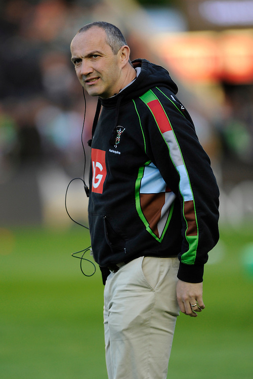 Conor O'Shea, Harlequins Director of Rugby, looks on during the Aviva Premiership match between Harlequins and Leicester Tigers at the Twickenham Stoop on Friday 18th April 2014 (Photo by Rob Munro)