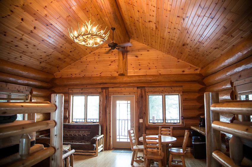 Lakeside cabins of Mount Bohemia ski area in Michigan.