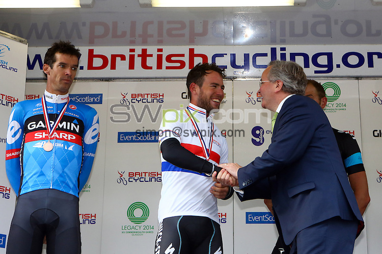 PICTURE BY ALEX WHITEHEAD/SWPIX.COM - Cycling - 2013 British Cycling National Road Race Championships - Glasgow, Scotland - 23/06/13 - Men's race medalists, Gold - Mark Cavendish (centre), Silver - David Millar (left), Bronze - Ian Stannard (right).