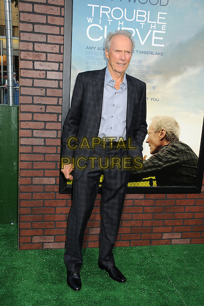 "Clint Eastwood.""Trouble With The Curve"" Los Angeles Premiere held at the Regency Village Theatre, Westwood, California, USA..September 19th, 2012.full length suit check black shirt blue hand in pocket .CAP/ADM/BP.©Byron Purvis/AdMedia/Capital Pictures."
