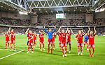Stockholm 2015-07-27 Fotboll Allsvenskan Hammarby IF - IFK Norrk&ouml;ping :  <br /> Norrk&ouml;pings spelare firar 1-0 vinsten framf&ouml;r Norrk&ouml;pings supportrar efter matchen mellan Hammarby IF och IFK Norrk&ouml;ping <br /> (Foto: Kenta J&ouml;nsson) Nyckelord:  Fotboll Allsvenskan Tele2 Arena Hammarby HIF Bajen IFK Norrk&ouml;ping jubel gl&auml;dje lycka glad happy supporter fans publik supporters inomhus interi&ouml;r interior
