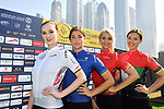The race leaders jerseys on display at sign on before the  start of Stage 5 The Meraas Stage final stage of the Dubai Tour 2018 the Dubai Tour&rsquo;s 5th edition, running 132km from Skydive Dubai to City Walk, Dubai, United Arab Emirates. 10th February 2018.<br /> Picture: LaPresse/Massimo Paolone | Cyclefile<br /> <br /> <br /> All photos usage must carry mandatory copyright credit (&copy; Cyclefile | LaPresse/Massimo Paolone)