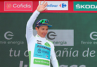 ESPAÑA, 28-08-2019: Miguel Angel lopez (COL - ASTANA) celebra con el maillot blanco mejor corredor joven después de la etapa 5, hoy, 28 de agosto de 2019, que se corrió entre L' Eliana y el Observatorio Astrofísico de Javalambre con una distancia de 170,7 km como parte de La Vuelta a España 2019 que se disputa entre el 24/08 y el 15/09/2019 en territorio Español. / Miguel Angel lopez (COL - ASTANA) celebrates with white best young rider jersey after stage 5 today, August 28, 2019, from L'Eliana to Javalambre Astrophysical Observatory with a distance of 170,7 km as part of Tour of Spain 2019 which takes place between 08/24 and 09/15/2019 in Spain.  Photo: VizzorImage / Luis Angel Gomez / ASO<br />