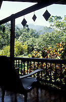 View from the verandah of the Main building of The Lodge at Pico Bonito near La Ceiba, Honduras. This is the most luxurious ecolodge in Honduras. It is  located in the buffer zone of the Parque Nacional Pico Bonito, the largest national park in Honduras.