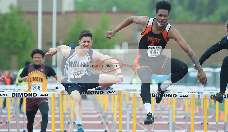 Eagle River's Mason Wadsworth finished third in the 100 meter hurdle finals at the Region IV Track and Field Championships.  Photo by Michael Dinneen for the Star