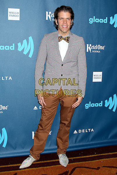 Perez Hilton.24th Annual GLAAD Media Awards held at JW Marriott LA LIVE, Los Angeles, California, USA..April 20th, 2013.full length trousers white shirt grey gray check suit jacket bow tie brown suit.CAP/ADM/RE.©Russ Elliot/AdMedia/Capital Pictures.