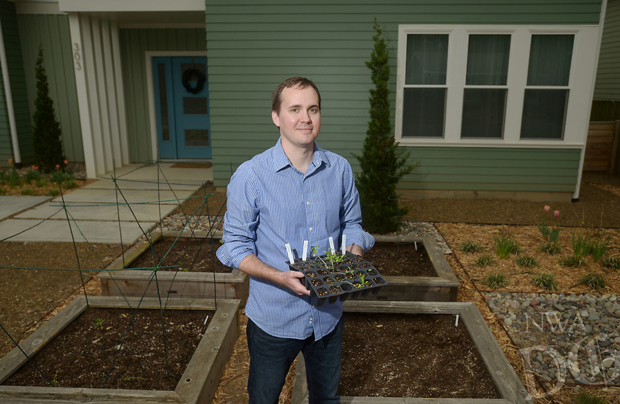 NWA Democrat-Gazette/BEN GOFF @NWABENGOFF<br /> Matt McClure, executive chef of The Hive restaurant at 21c Museum Hotel, poses for a photo Sunday, April 2, 2017, in the garden at his home in Bentonville.