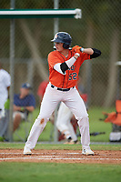 Gavin Casas (52) during the WWBA World Championship at the Roger Dean Complex on October 12, 2019 in Jupiter, Florida.  Gavin Casas attends American Heritage High School in Pembroke Pines, FL and is committed to Vanderbilt.  (Mike Janes/Four Seam Images)