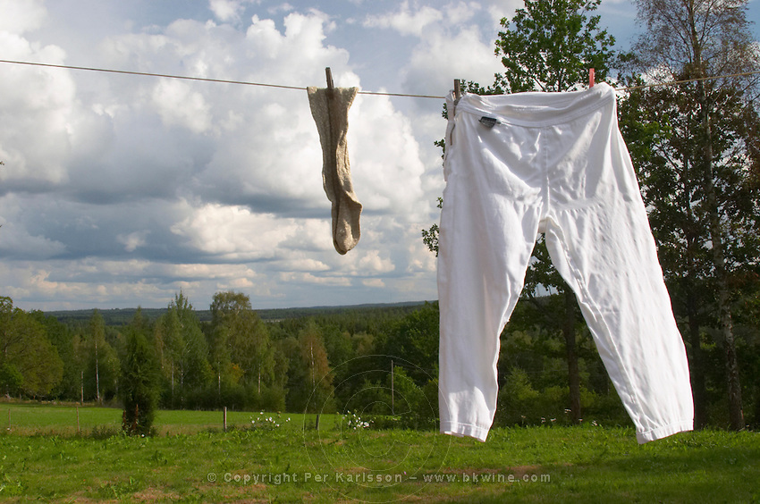 A pair of socks and trousers hanging to dry on a clothes line with clothes pins a summer day with clouds in the sky. Smaland region. Sweden, Europe.