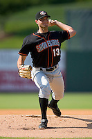 Starting pitcher Nathan Moreau #13 of the Delmarva Shorebirds in action versus the Kannapolis Intimidators at Fieldcrest Cannon Stadium May 31, 2009 in Kannapolis, North Carolina. (Photo by Brian Westerholt / Four Seam Images)