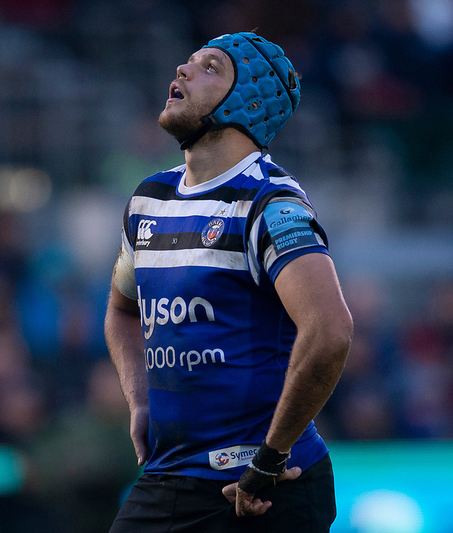 Bath Rugby's Zach Mercer<br /> <br /> Photographer Bob Bradford/CameraSport<br /> <br /> Gallagher Premiership Round 9 - Bath Rugby v Sale Sharks - Sunday 2nd December 2018 - The Recreation Ground - Bath<br /> <br /> World Copyright &copy; 2018 CameraSport. All rights reserved. 43 Linden Ave. Countesthorpe. Leicester. England. LE8 5PG - Tel: +44 (0) 116 277 4147 - admin@camerasport.com - www.camerasport.com