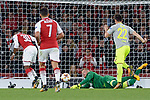 14.09.2017, Emirates Stadium, London, GER, Europa League, Arsenal London vs 1. FC Koeln, im Bild<br /> <br /> Torh&uuml;ter Timo Horn ( Koeln #1 ), Mitte kann einen Schuss von Ainsley Maitland-Niles ( Arsenal #30 ), links kl&auml;ren<br /> <br /> <br /> Foto &copy; nordphoto / Treese