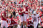 Wisconsin Badgers tight end Troy Fumagalli (81) celebrates a touchdown reception with teammate Danny Davis III (6) during an NCAA College Football game against the Florida Atlantic Owls Saturday, September 9, 2017, in Madison, Wis. The Badgers won 31-14. (Photo by David Stluka)