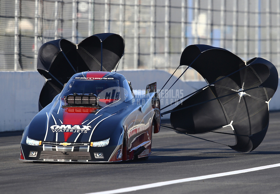 Feb 12, 2016; Pomona, CA, USA; NHRA top alcohol funny car driver Brian Hough during qualifying for the Winternationals at Auto Club Raceway at Pomona. Mandatory Credit: Mark J. Rebilas-USA TODAY Sports