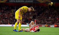 Mergim Vojvoda of Standard Liege looks over Gabriel Martinelli of Arsenal during the UEFA Europa League match between Arsenal and Standard Liege at the Emirates Stadium, London, England on 3 October 2019. Photo by Andrew Aleks.