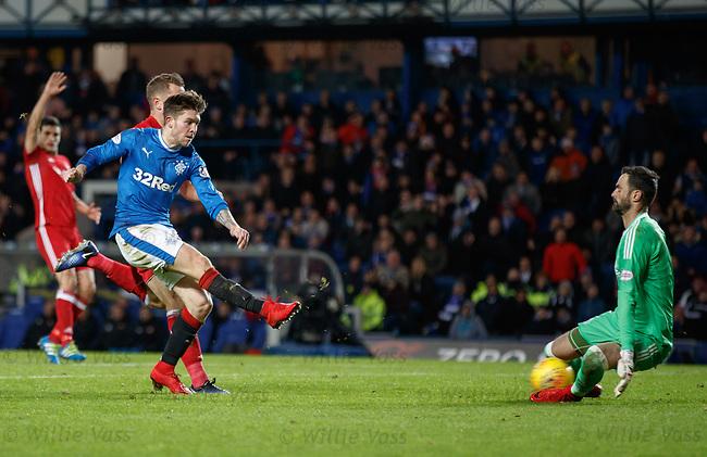 Josh Wndass gets the ball in the net past Aberdeen keeper Joe Lewis but it is chalked off