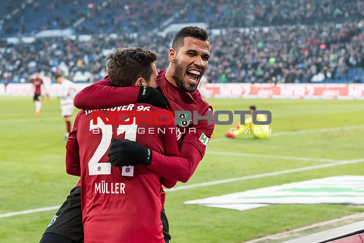 09.02.2019, HDI Arena, Hannover, GER, 1.FBL, Hannover 96 vs 1. FC Nuernberg<br /> <br /> DFL REGULATIONS PROHIBIT ANY USE OF PHOTOGRAPHS AS IMAGE SEQUENCES AND/OR QUASI-VIDEO.<br /> <br /> im Bild / picture shows<br /> Jubel 2:0, Nicolai Müller / Mueller (Neuzugang Hannover 96 #21) bejubelt seinen zweiten Treffer im Spiel mit Jonathas De Jesus (Hannover 96 #09), <br /> <br /> Foto © nordphoto / Ewert