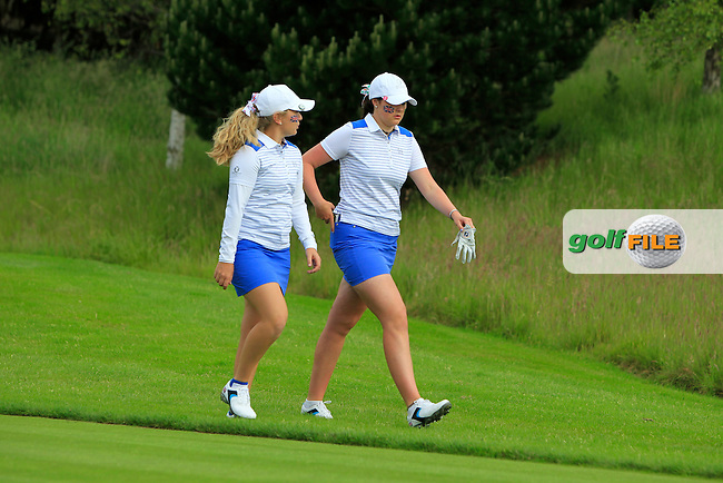 Bronte Law and Olivia Mehaffey on the 3rd during the Friday morning Foursomes of the 2016 Curtis Cup at Dun Laoghaire Golf Club on Friday 10th June 2016.<br /> Picture:  Golffile | Thos Caffrey