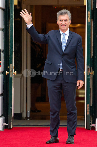 Mauricio Macri, President of Argentine Republic arrives for the working dinner for the heads of delegations at the Nuclear Security Summit on the South Lawn of the White House in Washington, DC on Thursday, March 31, 2016.<br /> Credit: Ron Sachs / Pool via CNP/MediaPunch