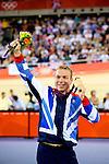 Engeland, London, 7 augustus 2012.Olympische Spelen London.Baanwielrenner Chris Hoy heeft bij de Olympische Spelen in Londen de gouden medaille veroverd op de keirin