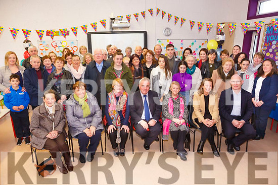 Brendan Dennehy, principal of Joseph's NS, Castlemaine celebrates his retirement after 36 years service 17 as principal on Friday. Pictured with family, friends students and parents