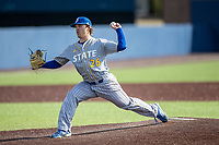 San Jose State Spartans pitcher Ben Polack (26) delivers a pitch to the plate against the Michigan Wolverines on March 27, 2019 in Game 1 of the NCAA baseball doubleheader at Ray Fisher Stadium in Ann Arbor, Michigan. Michigan defeated San Jose State 1-0. (Andrew Woolley/Four Seam Images)