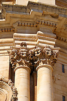 Ionic Column capitals of the Baroque Church of St George designed by Gagliardi 1702 , Modica, Sicily