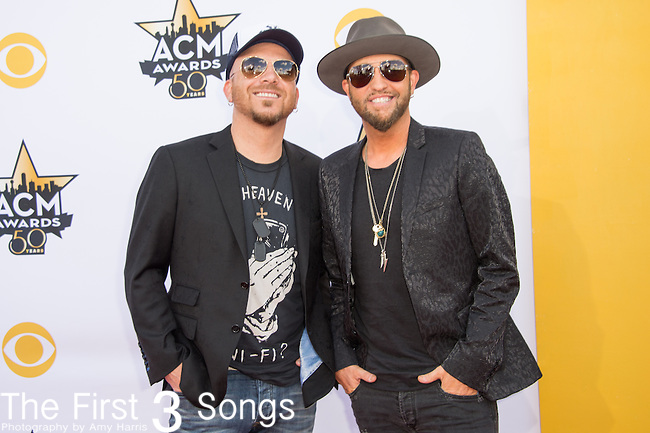 Chris Lucas and Preston Brust of LoCash attend the 50th Academy Of Country Music Awards at AT&T Stadium on April 19, 2015 in Arlington, Texas.