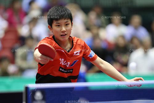 Tomokazu Harimoto (JPN), <br /> JUNE 15, 2017 - Table Tennis : <br /> ITTF World Tour Japan Open 2017 <br /> Men's Singles <br /> at Tokyo Metropolitan Gymnasium, Tokyo, Japan. <br /> (Photo by YUTAKA/AFLO)