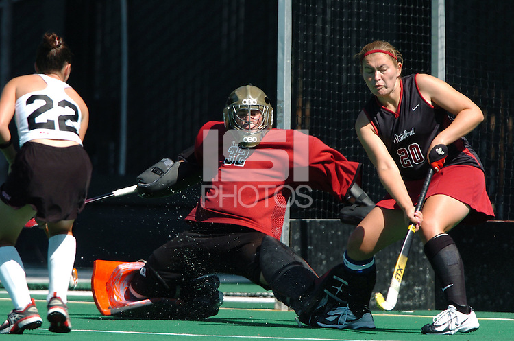 27 August 2006: Stanford Cardinal Madison Bell during Stanford's 4-1 loss against Maryland Terrapins at the Varsity Field Hockey Turf in Stanford, CA.