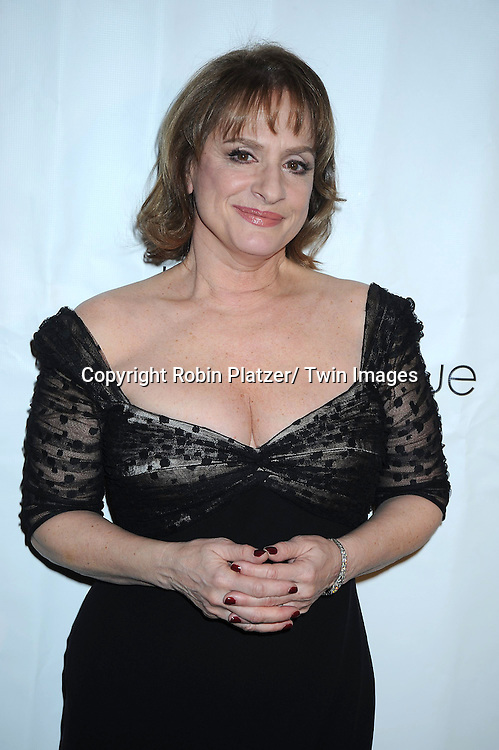Patti LuPone in Carmen Marc Valvo black lace dress attending The Drama League's 27th Annual All-Star Benefit Gala honoring Patti LuPone.on February 7, 2011 at The Pierre Hotel in New York City.