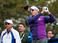 24.09.2014. Gleneagles, Auchterarder, Perthshire, Scotland.  The Ryder Cup.  Ian Poulter (EUR) on the 18th tee during his practice round.