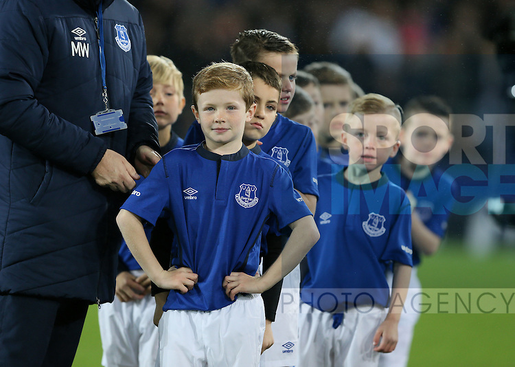Young mascots wait to take the hands of the players - UEFA Europa League - Everton vs  Lille - Goodison Park Stadium - Liverpool - England - 6th November 2014 - Pic Simon Bellis/Sportimage