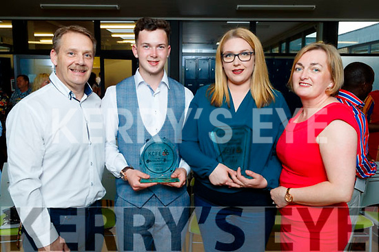 Pictured at the Kerry College of Further Education awards night on Thursday May 31st were l-r: Brendan Lowham (Sponser Toptable Catering), Denis Cronin (Community Spirit award) Jenny Wattam (Hospitality Operations award)  and Kay Langian Ryan (Kerry College of Further Education).