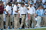04 October 2014: UNC head coach Larry Fedora. The University of North Carolina Tar Heels hosted the Virginia Tech Hokies at Kenan Memorial Stadium in Chapel Hill, North Carolina in a 2014 NCAA Division I College Football game. Virginia Tech won the game 34-17.