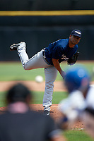 Lakeland Flying Tigers relief pitcher Wladimir Pinto (40) delivers a pitch during a game against the Dunedin Blue Jays on May 27, 2018 at Dunedin Stadium in Dunedin, Florida.  Lakeland defeated Dunedin 2-1.  (Mike Janes/Four Seam Images)